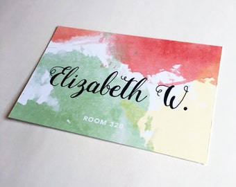 Name Tag Watercolor Template | Door Decks Perfect for Dorm Rooms