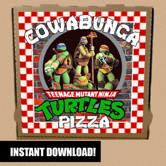 Teenage Mutant Ninja Turtles Pizza Box Label Druckbare Instant Etsy