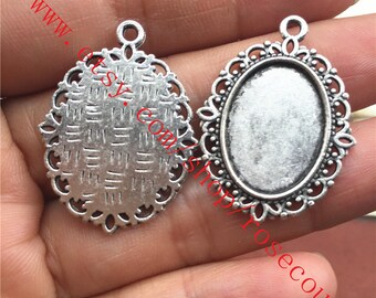 25 mm blank Blanks Antique Silver Plated Brass  Mountings G3559
