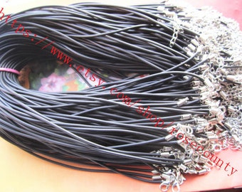 Wholesale 100pcs 17 inch 2mm Black Rubber cord necklace with lobster clasps plus 2 inch extender