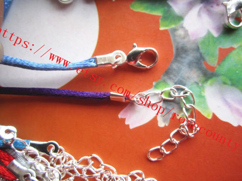 Bright Silver Closure--Wholesale 100pcs 16 inch 2mm assorted satin rat-tail  cord necklace with lobster clasps plus 2 inch extender