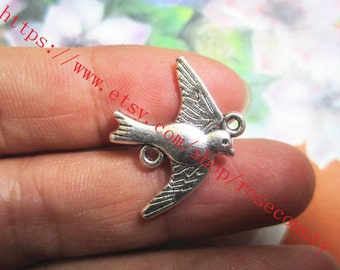 wholesale 100pcs Antiqued Silver flying swallow 22x18 mm charms findings connectors--perfect for making bracelets