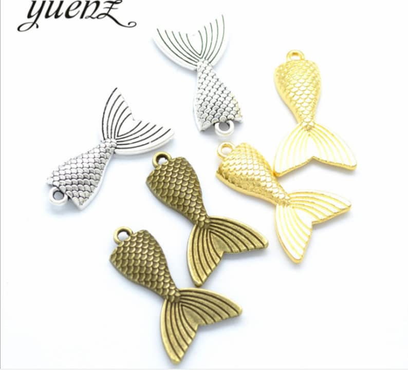 Wholsale 50pcs 31x20mm antiqued silverantiqued bronzebright gold Mermaid tail charms findings