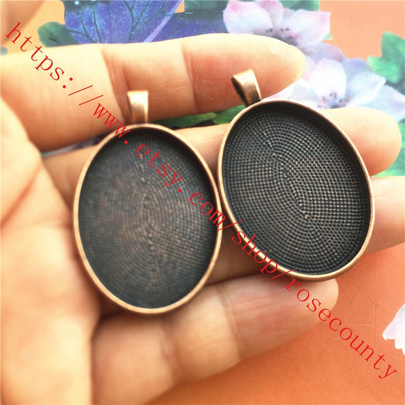 Wholesale 20pcs Antiqued copper 39x25mm oval bezel trays cabochon size is 30x22mm setting  pendant findings