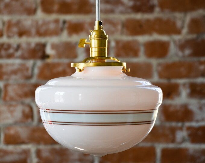 Sumner Pendant Light [Raw Brass - Mid Century - Modern - Industrial - White - Turquoise Blue - Painted Banding - Schoolhouse Glass Globe]