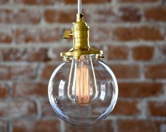 Roslyn Pendant Light [Raw Brass - Mid Century - Modern - Industrial - Clear Glass Globe - Cloth Wire - Plug In - Canopy - Edison Bulb]