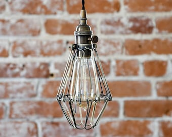 Pendant Light - Antique Brass - Mid Century - Modern - Industrial - Cage Wire - Hanging Light - Plug In - Switch - Edison [NEWCASTLE]