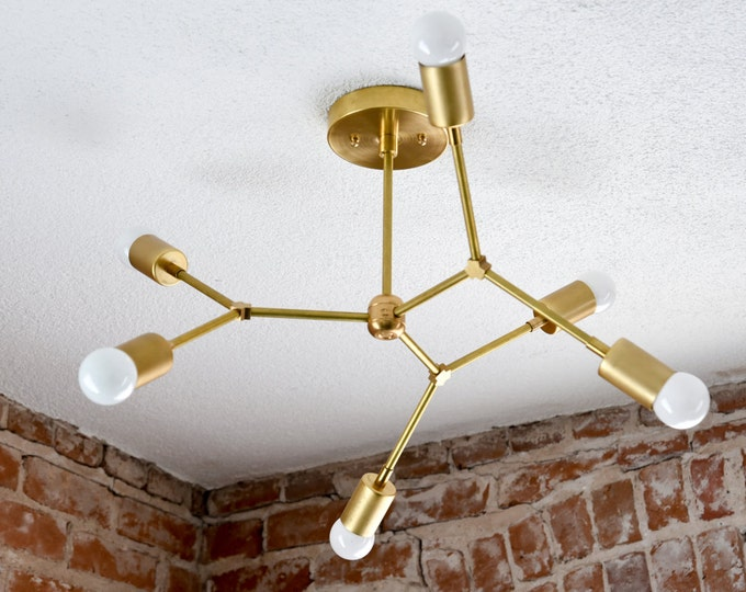 Portland Chandelier [Raw Brass - Mid Century - Industrial - Modern - Sputnik - Pinwheel - Hanging - Light - Tree Branch - UL Listed]
