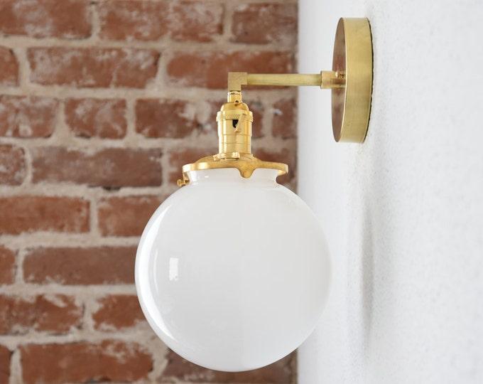 Industrial Bathroom Sconce - Gold Vanity Light - Mid Century - Modern - Wall Light - Glass Globe - Bathroom Vanity - UL Listed [CLAYTON]