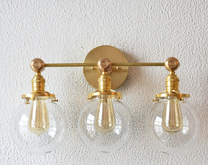 Raw Brass Gold Wall Sconce with Three 6-inch Globe Mid Century Industrial Modern Art Light UL Listed