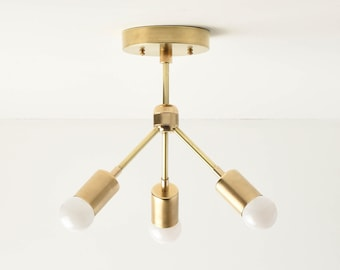 Semi Flush Ceiling Light - Raw Brass - Mid Century - Modern - Industrial - Sputnik - Hanging Light - UL Listed [LOMPOC]