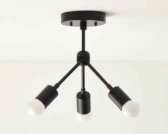 Semi Flush Ceiling Light - Matte Black - Mid Century - Modern - Industrial - Sputnik - UL Listed [LOMPOC]