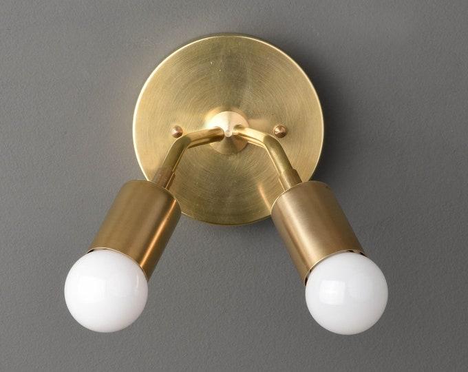 Manchester Wall Sconce [Raw Brass - Mid Century - Modern - Industrial - Vanity - 2 Bulb - Art Light - Bathroom - UL Listed]