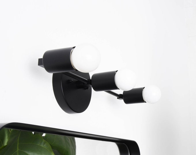 Modern Wall Sconce - Matte Black - Mid Century - Industrial - Wall Light - Bathroom Vanity Light - UL Listed [BOULDER]