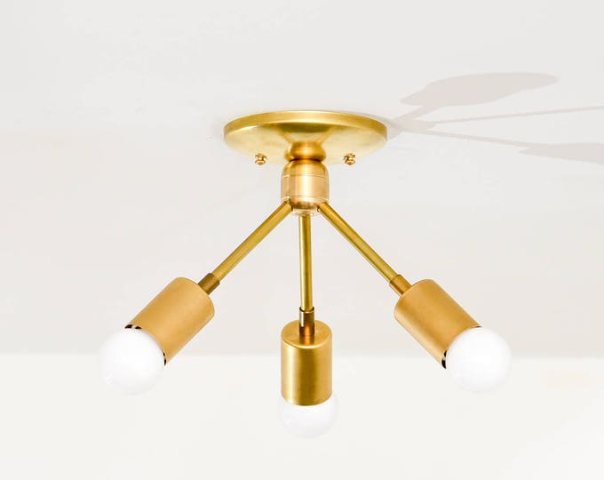 Gold Raw Brass Modern Semi Flush 3 Bulb Angled Sputnik Mid Century Industrial Light Modern UL Listed