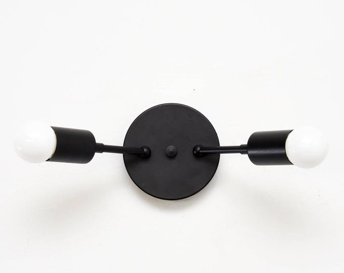 Wall Sconce - Matte Black - Mid Century - Modern - Industrial - Wall Light - Abstract - Art Light - Bathroom Vanity - UL Listed [GROVER]