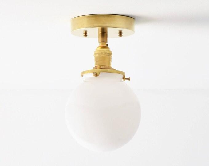 Semi Flush Ceiling Light - Raw Brass - Mid Century - Modern - Industrial - Glass Globe - Ceiling Lighting - UL Listed [HIGHLAND]