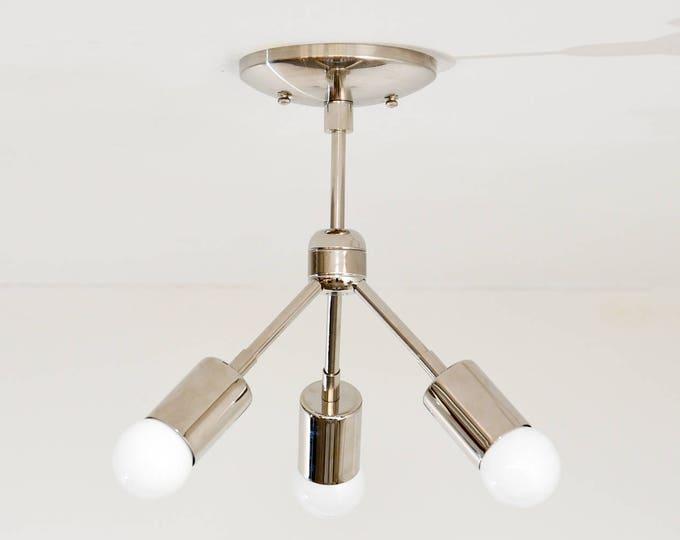 Modern Chandelier Silver Polished Nickel 3 Bulb Sputnik Mid Century Semi Flush Industrial Light Modern UL Listed