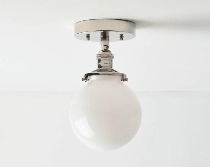 Semi Flush Ceiling Light - Polished Nickel - Mid Century - Modern - Industrial - Glass Globe - Ceiling Lighting - UL Listed [HIGHLAND]