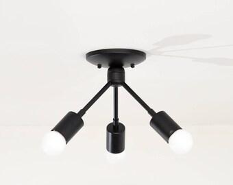 Alhambra Semi Flush [Matte Black - Mid Century - Modern - Industrial - 3 Bulb - 3 Light - Angled - Sputnik - UL Listed]
