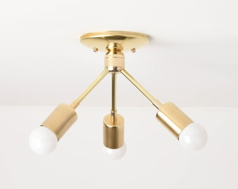 Alhambra Semi Flush [Raw Brass - Mid Century - Modern - Industrial - 3 Bulb - 3 Light - Angled - Sputnik - UL Listed]