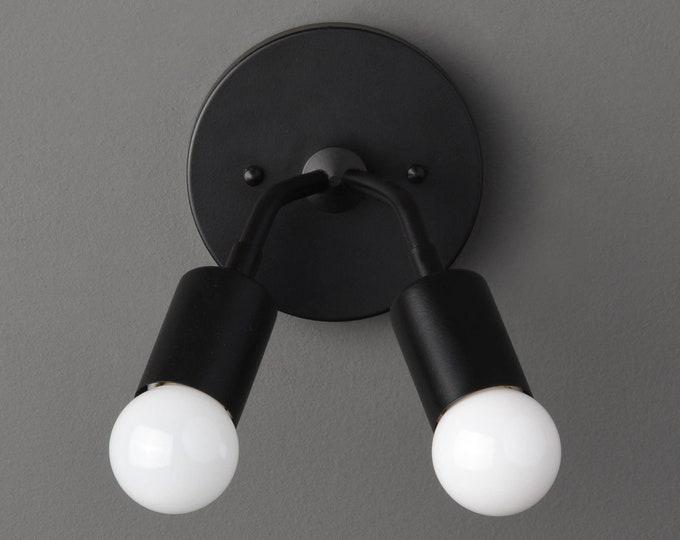 Manchester Wall Sconce [Matte Black - Mid Century - Modern - Industrial - Vanity - 2 Bulb - Art Light - Bathroom - UL Listed]