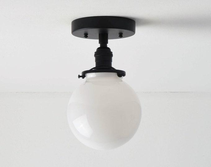 Semi Flush Ceiling Light - Matte Black - Mid Century - Modern - Industrial - Glass Globe - Ceiling Lighting - UL Listed [HIGHLAND]