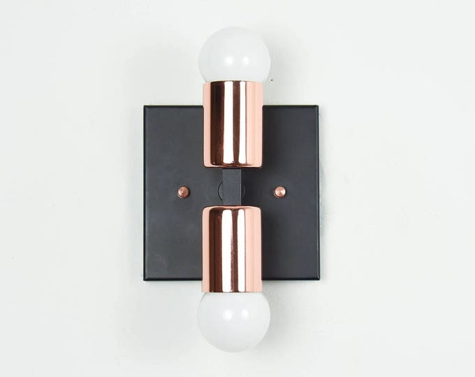 Crestview Wall Sconce [Black & Copper - Mid Century - Modern - Industrial - 2 Light - 2 Bulb - Vanity - Art Light - Bathroom - UL Listed]