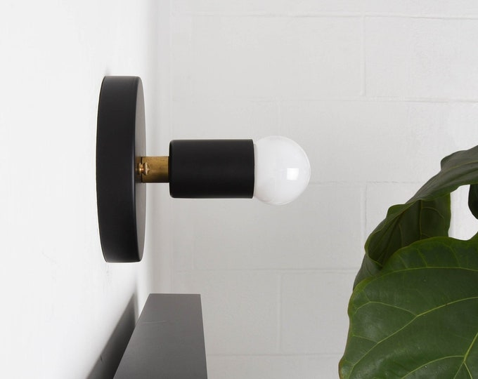 Modern Wall Sconce - Black & Brass - Mid Century - Modern - Industrial - Wall Light - Bathroom Vanity - UL Listed [CLERMONT]