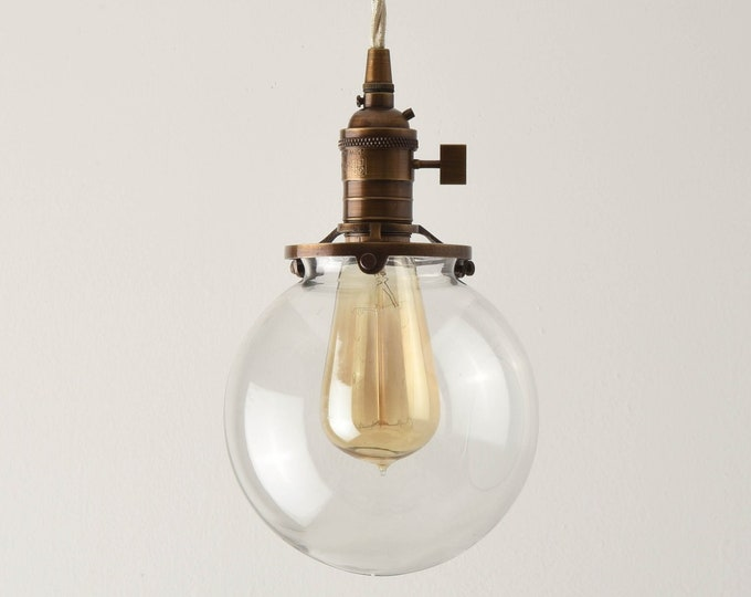 Globe Pendant Light - Antique Brass - Mid Century - Modern - Industrial - Clear Glass Globe - Plug In or Canopy - Cloth Wire [EVERSON]