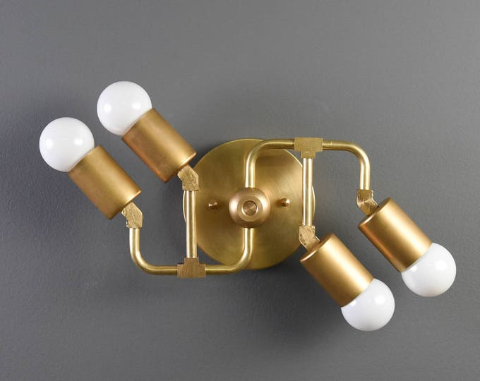 Industrial Vanity Light - Modern Wall Sconce - Raw Brass - Mid Century - Wall Light - Bathroom Vanity - UL Listed [HORNELL]