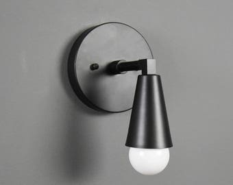 Bennett Wall Sconce [Matte Black - Mid Century - Modern - Industrial - Single Light - Cone Cover - Vanity - Bathroom - UL Listed]
