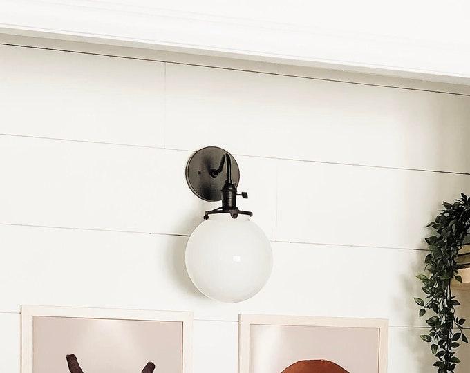Black Globe Sconce - Mid Century - Modern - Industrial - 8 inch Glass Globe - Bathroom Vanity - Art Light - UL Listed [ALTHA]