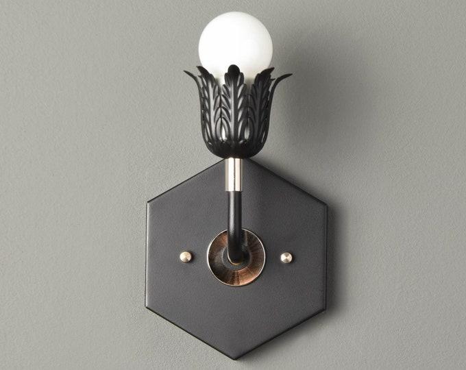 Wall Sconce - Black/Pol. Nickel - Mid Century - Modern - Industrial - Wall Light - Art Light - Bathroom Vanity - UL Listed [AVERY]