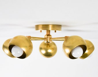 Semi Flush Ceiling Light - Raw Brass - Mid Century - Modern - Industrial - Hanging Light - UL Listed [MODESTO]