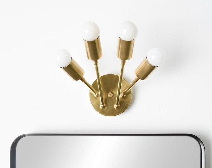 Brass Vanity Light  - Modern Wall Sconce - Raw Brass - Mid Century - Wall Light - Bathroom Vanity - Abstract - UL Listed [LYONS]