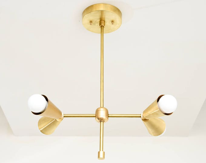 Chandelier - Raw Brass - Mid Century - Industrial - Modern - Hanging - Light - 2 Arm - 4 Light - UL Listed [MIAMI]