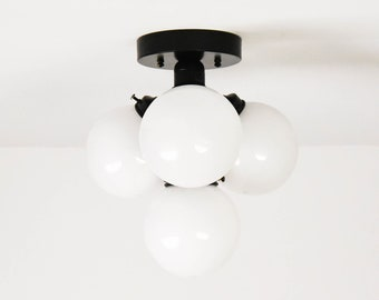 Delano Semi Flush [Matte Black - Mid Century - Modern - Industrial - Candelabra - 4 Light - 5 inch Globe - UL Listed]