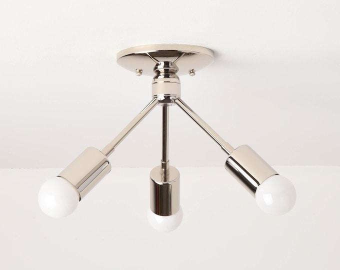 Semi Flush Ceiling Light - Polished Nickel - Mid Century - Modern - Industrial - Angled - Sputnik - UL Listed [ALHAMBRA]
