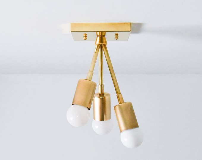 Semi Flush Ceiling Light - Raw Brass - Mid Century - Modern - Industrial - Sputnik - Atomic - UL Listed [MALIBU]