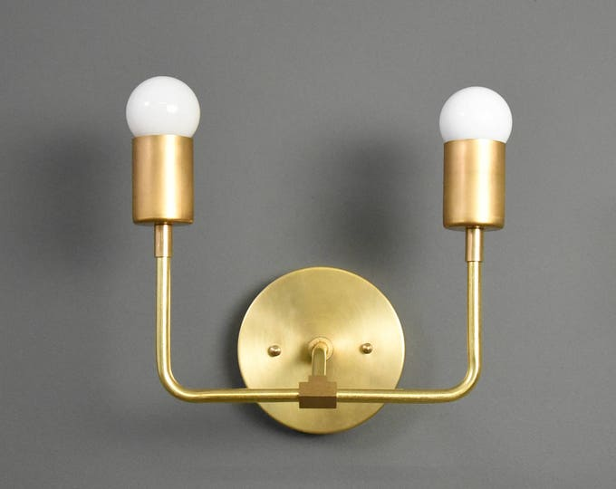 Wall Sconce - Raw Brass - Mid Century - Modern - Industrial - Wall Light - Bathroom Vanity - UL Listed [LANTANA]