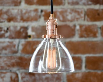 Pendant Light - Copper - Mid Century - Modern - Industrial - Glass Bell Shade - Canopy Kit - Cloth Covered Wire [OAKVILLE]
