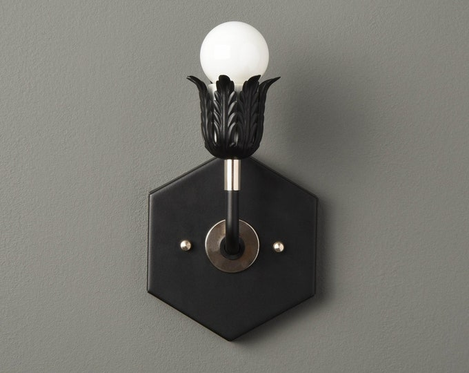 Decorative Wall Light - Modern Wall Sconce - Black & Polished Nickel - Mid Century - Industrial - Bathroom Vanity - UL Listed [AVERY]