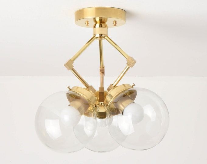 Semi Flush Ceiling Light - Raw Brass - Mid Century - Modern - Industrial - 6 Inch Globe - UL Listed [BERKELEY]