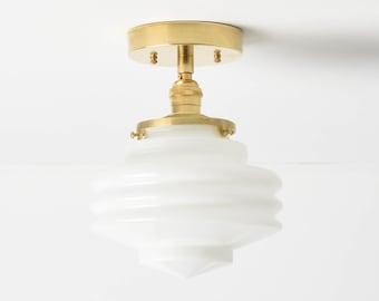 Semi Flush Ceiling Light - Handblown Art Deco Globe - Raw Brass - Mid Century Modern - Industrial - UL Listed [POMONA]