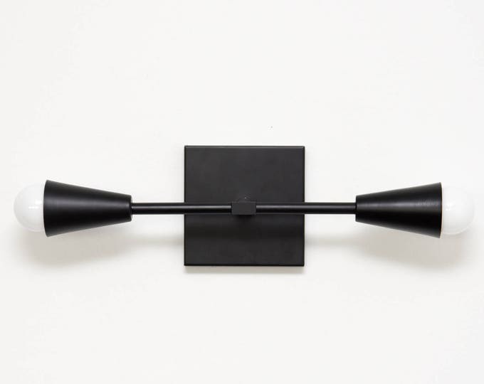 Walden Wall Sconce [Matte Black - Mid Century - Modern - Industrial - 2 Light - 2 Bulb - Conical Covers - Vanity - Bathroom - UL Listed]
