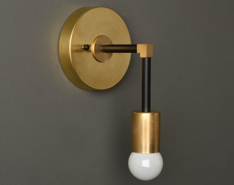Bathroom Vanity Light Wall Sconce - Black & Brass - Mid Century - Modern - Industrial UL Listed [FRASER]