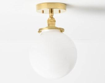 Semi Flush Ceiling Light - Raw Brass - Mid Century - Modern - Industrial - 8 Inch Globe - Ceiling Lighting - UL Listed [LANCASTER]