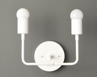 White Modern Sconce - Mid Century - Industrial - Wall Light - Bathroom Vanity Light - UL Listed [LANTANA]