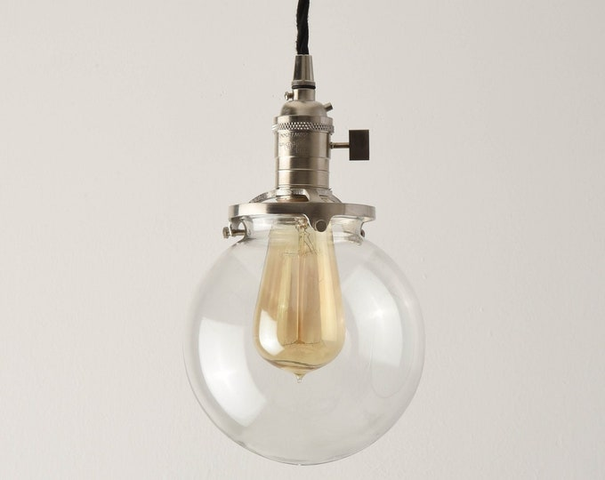 Globe Pendant Light - Brushed Nickel - Mid Century - Modern - Industrial - Clear Glass Globe - Plug In Pendant [EVERSON]